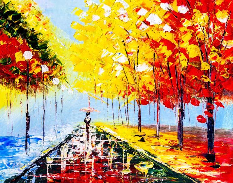 Ελαιογραφία - ζωηρόχρωμη βροχερή νύχτα διανυσματική απεικόνιση