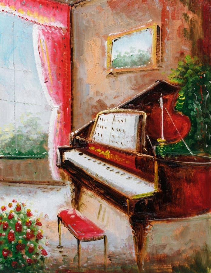 Ελαιογραφία - πιάνο διανυσματική απεικόνιση