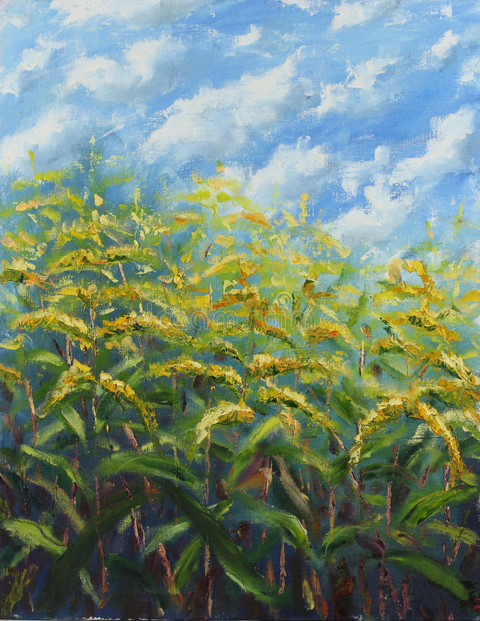 Ελαιογραφία πολλών μεγάλη κίτρινη λουλουδιών στοκ εικόνες