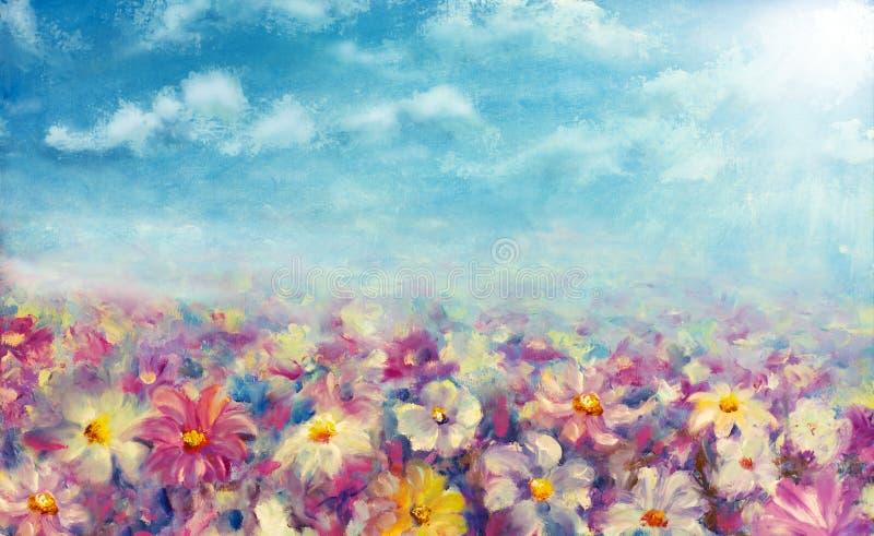 Ελαιογραφία τομέων λουλουδιών ελεύθερη απεικόνιση δικαιώματος
