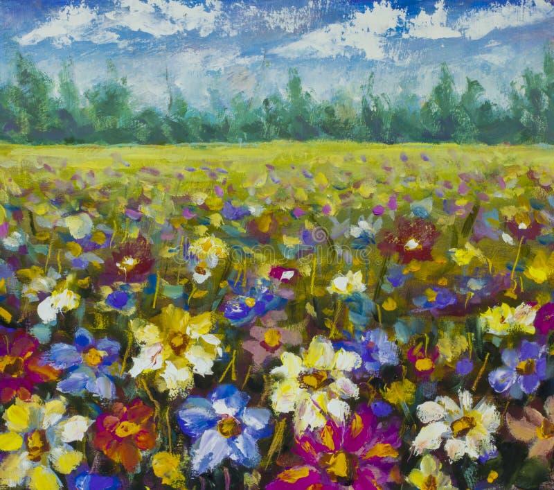 Ελαιογραφία τομέων λουλουδιών απεικόνιση αποθεμάτων
