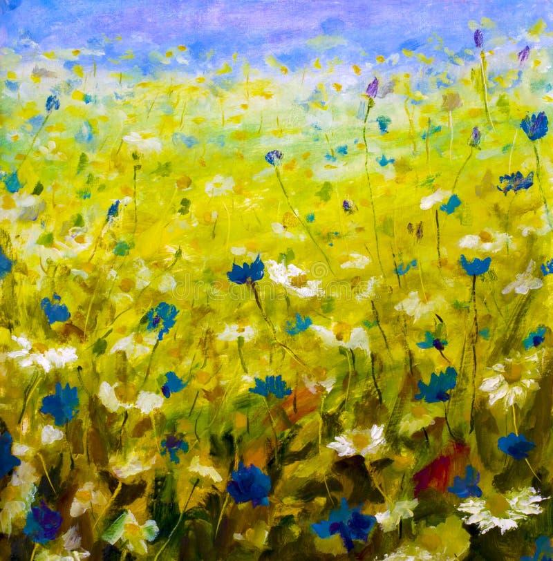 ελαιογραφία των λουλουδιών, όμορφα λουλούδια τομέων στον καμβά στοκ φωτογραφία