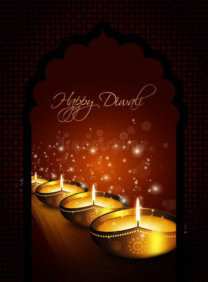 Ελαιολυχνία με το σκοτεινό υπόβαθρο χαιρετισμών diya diwali απεικόνιση αποθεμάτων