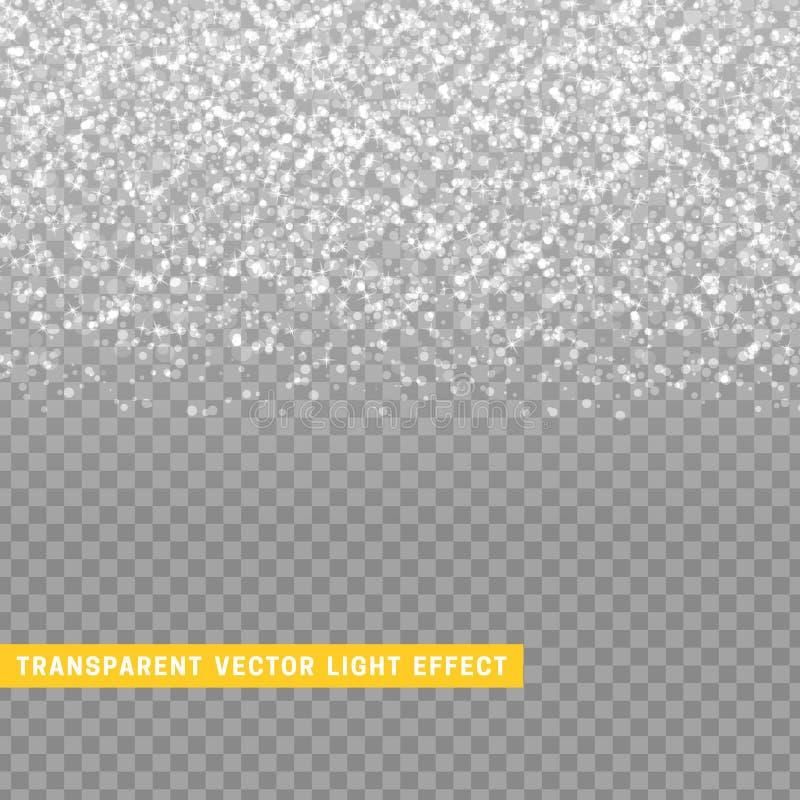 Ελαφριά επίδραση γκρίζα με την ασημένια καμμένος βροχή σύστασης του κομφετί διανυσματική απεικόνιση