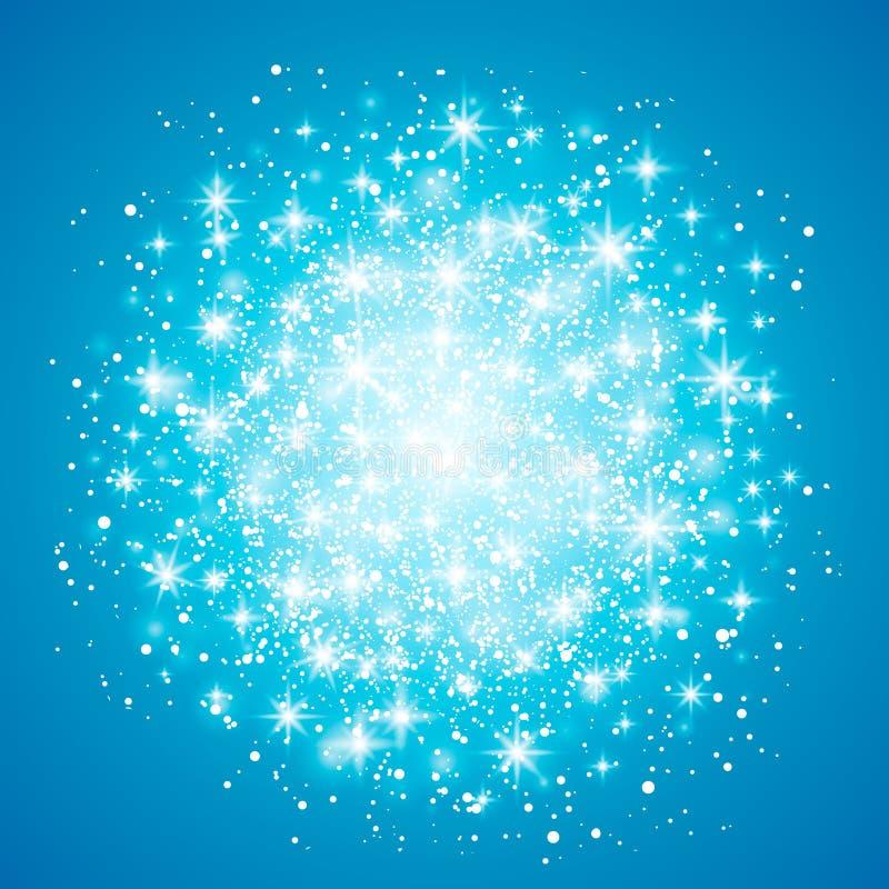 Ελαφριά επίδραση πυράκτωσης στο μπλε υπόβαθρο επίσης corel σύρετε το διάνυσμα απεικόνισης Έννοια λάμψης Χριστουγέννων Έκρηξη αστε ελεύθερη απεικόνιση δικαιώματος