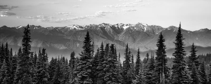 Ελαφριά ολυμπιακή κορυφογραμμή τυφώνα βουνών ξημερωμάτων στοκ φωτογραφία με δικαίωμα ελεύθερης χρήσης