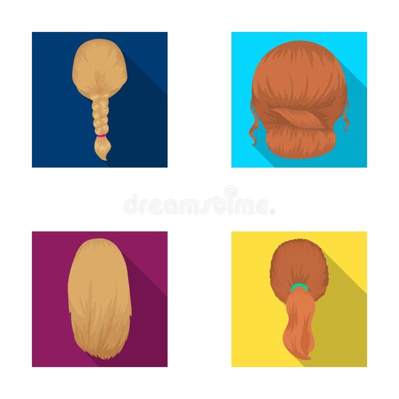 Ελαφριά πλεξούδα, ουρά ψαριών και άλλοι τύποι hairstyles Η πλάτη hairstyle έθεσε τα εικονίδια συλλογής στο επίπεδο διανυσματικό σ διανυσματική απεικόνιση