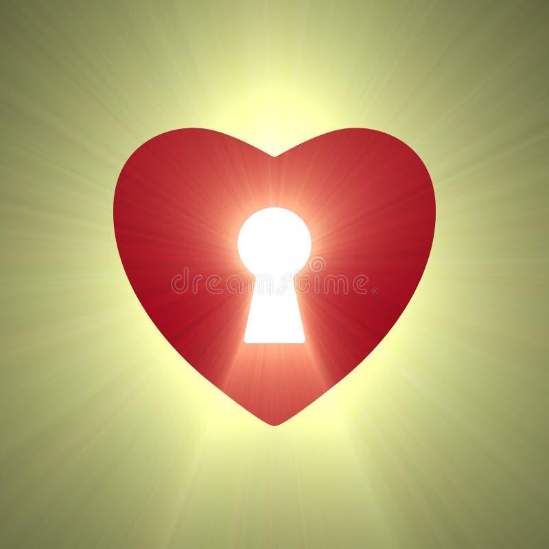Ελαφριά φλόγα κλειδαροτρυπών κλειδαριών καρδιών απεικόνιση αποθεμάτων