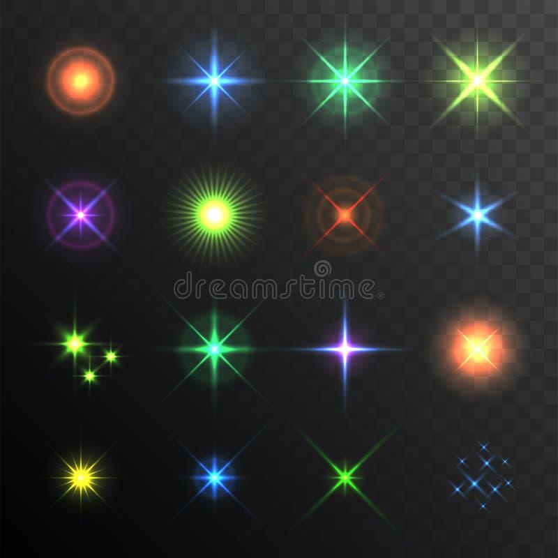 Ελαφρύ έντονο φως, κυριώτερο σημείο Φλόγες φακών καθορισμένες Αποτελέσματα φωτισμού της λάμψης διάνυσμα ελεύθερη απεικόνιση δικαιώματος