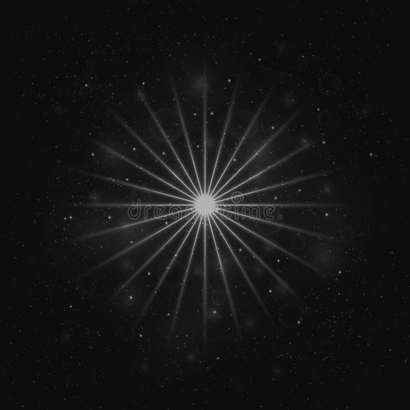 Ελαφρύ αστέρι, διαστημική απεικόνιση, επίδραση ιχνών στροβίλου, διάνυσμα ελεύθερη απεικόνιση δικαιώματος