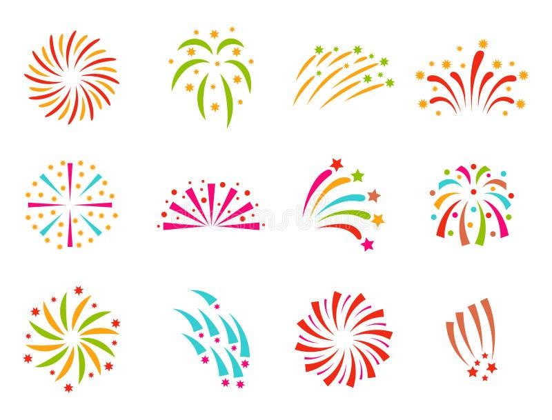 Ελαφρύ εορταστικό κόμμα έκρηξης νύχτας γεγονότος διακοπών εορτασμού απεικόνισης πυροτεχνημάτων διανυσματικό