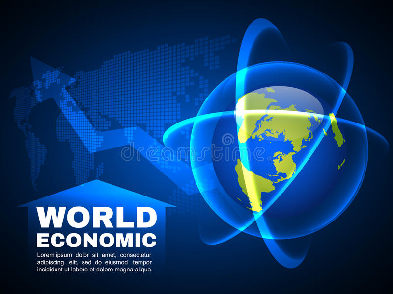 Ελαφρύ διανυσματικό υπόβαθρο φυσαλίδων γραμμών παγκόσμιων οικονομικό και σφαιρικό χαρτών διανυσματική απεικόνιση