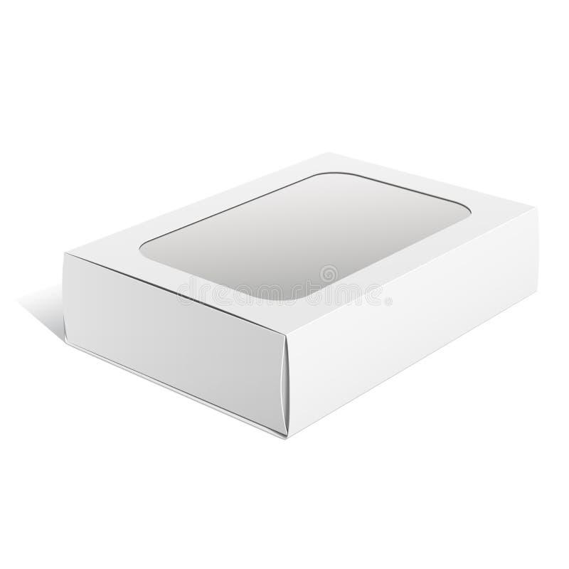 Ελαφρύ κουτί από χαρτόνι συσκευασίας με το παράθυρο. Διάνυσμα διανυσματική απεικόνιση