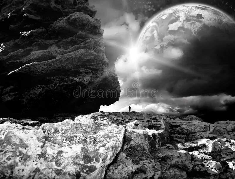ελαφρύ μαγικό ηλιοβασίλεμα ήλιων ουρανού τοπίων φαντασίας πουλιών απεικόνιση αποθεμάτων