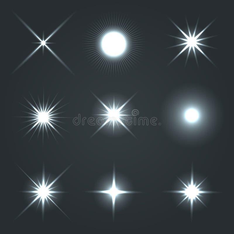 Ελαφρύ σύνολο επίδρασης αστεριών φλογών πυράκτωσης ελεύθερη απεικόνιση δικαιώματος