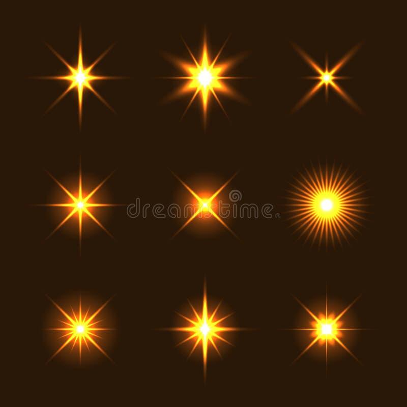 Ελαφρύ σύνολο επίδρασης αστεριών φλογών πυράκτωσης διανυσματική απεικόνιση