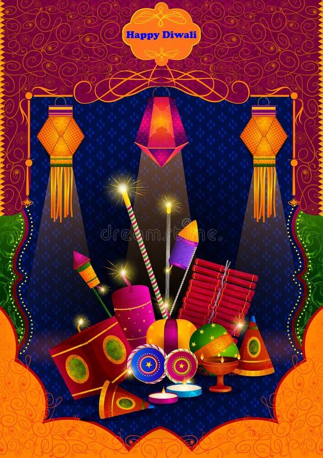Ελαφρύ φεστιβάλ του ευτυχούς Diwali εορτασμού της Ινδίας διανυσματική απεικόνιση