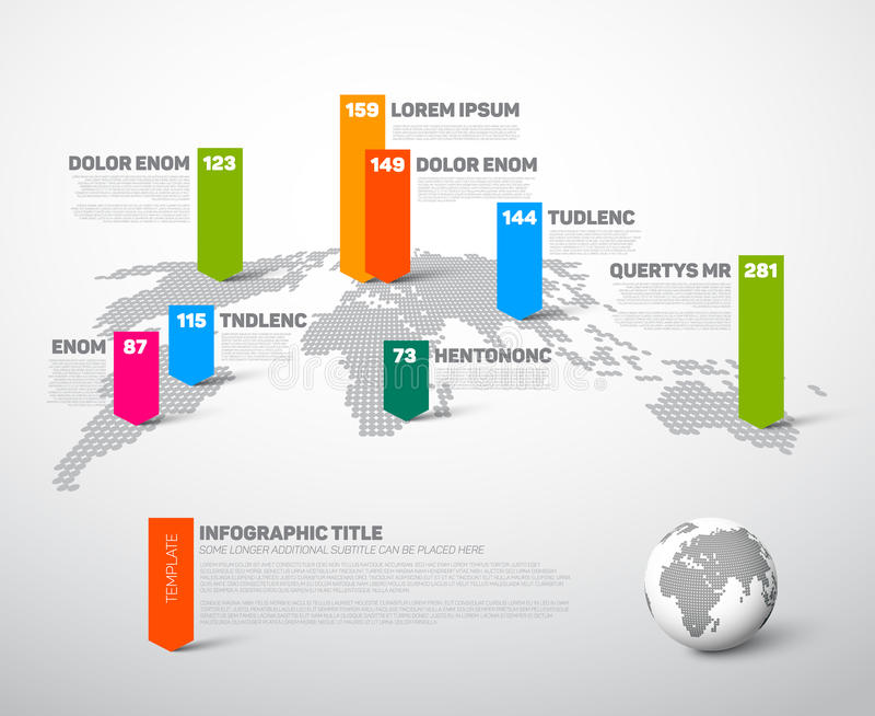 Ελαφρύ infographic πρότυπο παγκόσμιων χαρτών ελεύθερη απεικόνιση δικαιώματος