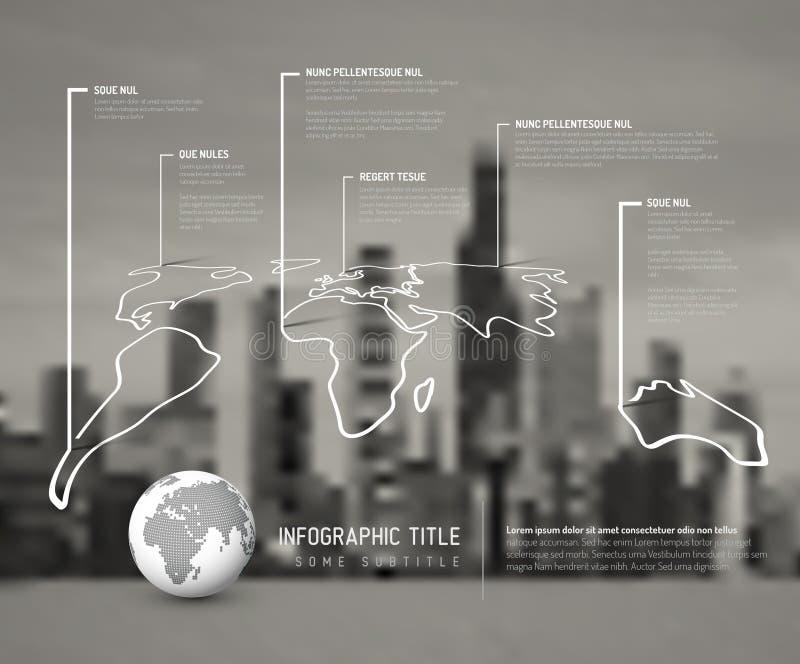 Ελαφρύ infographic πρότυπο χαρτών παγκόσμιων λεπτό γραμμών διανυσματική απεικόνιση