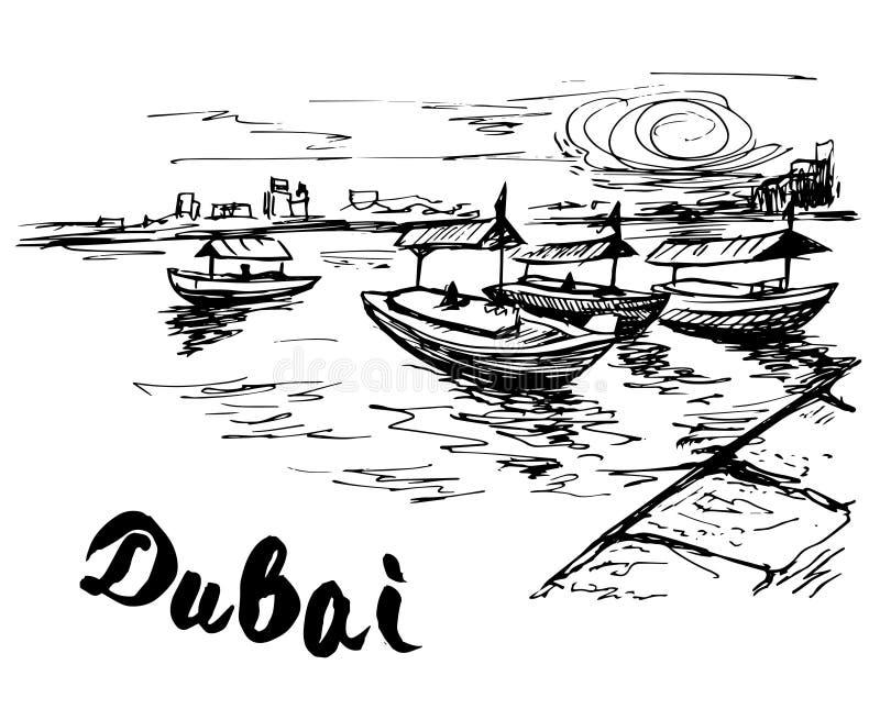 Ε.Α.Ε. - Βάρκες κολπίσκου του Ντουμπάι στην αποβάθρα κολπίσκου ελεύθερη απεικόνιση δικαιώματος