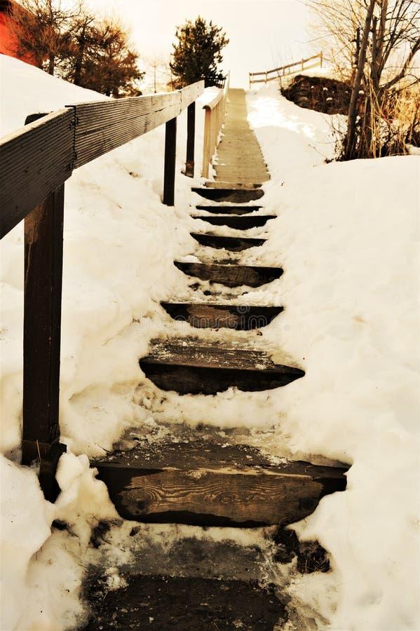 Ελβετικές Άλπεις και εκλεκτής ποιότητας σκαλοπάτια στοκ εικόνες