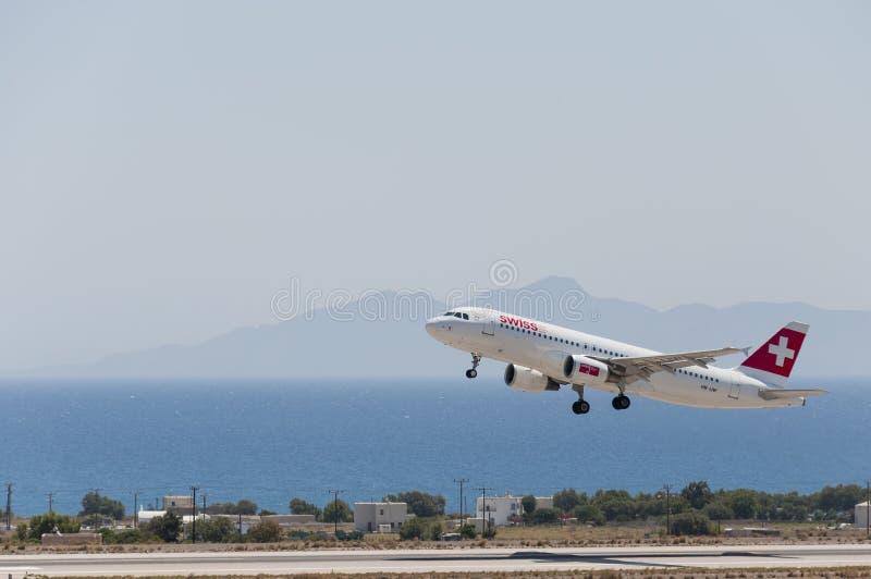 Ελβετικός αέρας αναχώρησης Santorini στοκ εικόνες