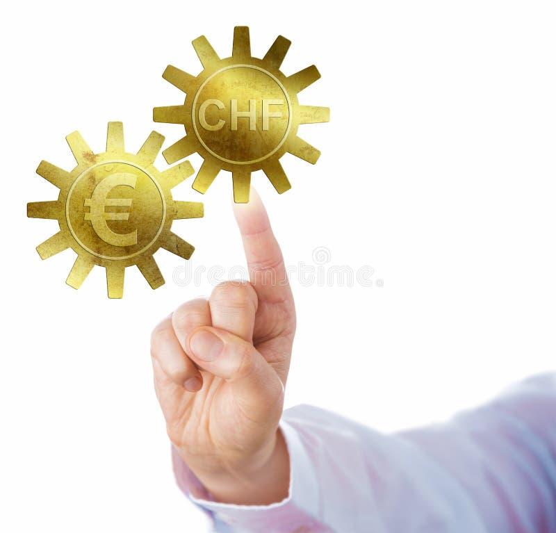 Ελβετικό φράγκο και ευρο- ενδασφάλιση ως χρυσά βαραίνω στοκ εικόνες