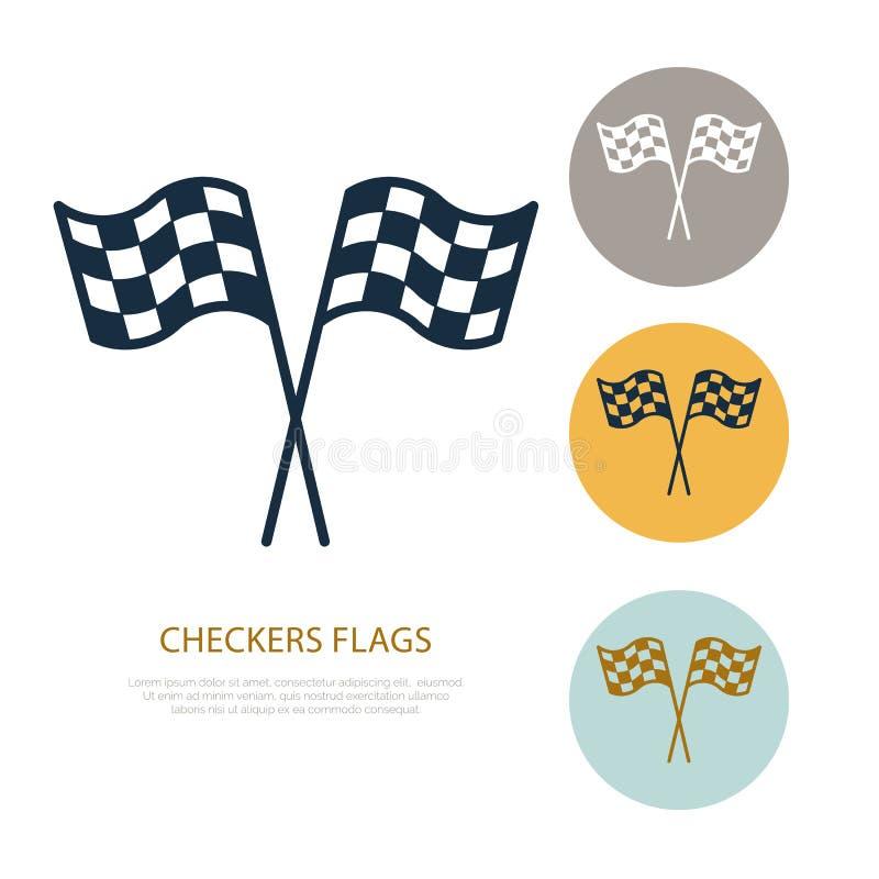 Ελεγμένο εικονίδιο γραμμών σημαιών διανυσματικό Λογότυπο αυτοκινητικών, αγωνιστικών αυτοκινήτων ταχύτητας, οδηγώντας σημάδι μαθημ ελεύθερη απεικόνιση δικαιώματος