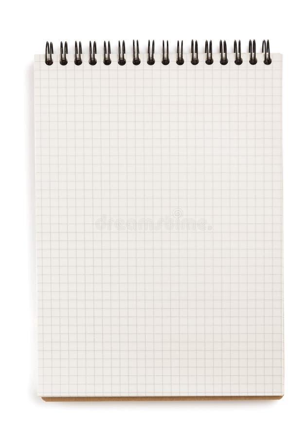 Ελεγχμένο σημειωματάριο που απομονώνεται στο λευκό στοκ εικόνες