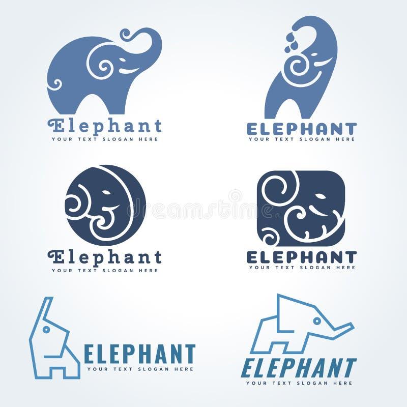 Ελεφάντων λογότυπων καθορισμένο σχέδιο απεικόνισης σημαδιών διανυσματικό διανυσματική απεικόνιση