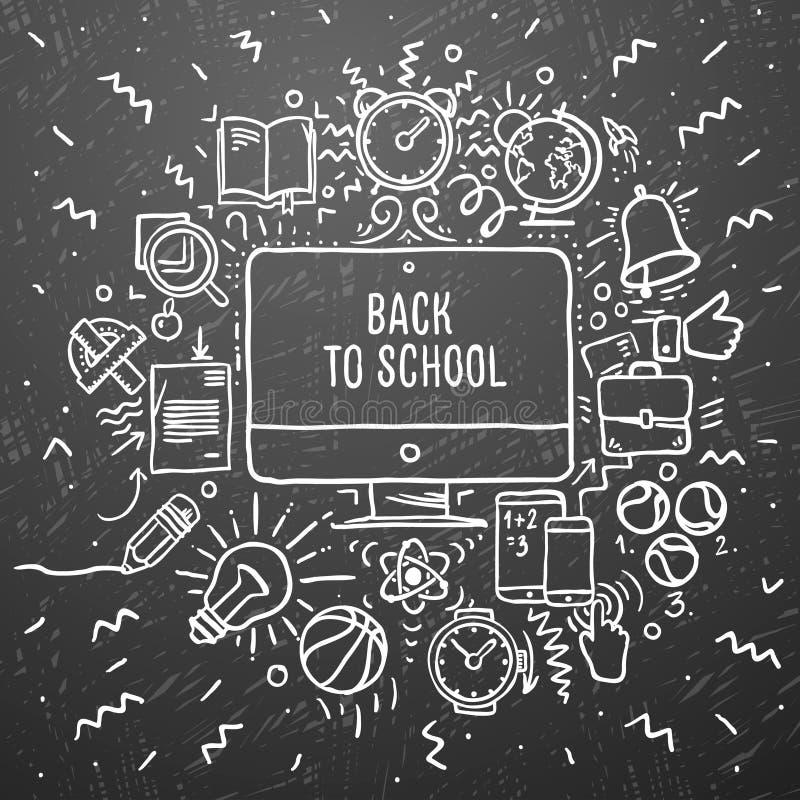 Ελεύθερα σχολικά στοιχεία σχεδίων κιμωλίας στο μαύρο πίνακα κιμωλίας πίσω σχολείο απεικόνιση αποθεμάτων