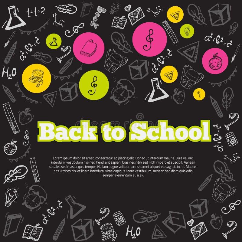 Ελεύθερα σχολικά στοιχεία σχεδίων στον πίνακα κιμωλίας ελεύθερη απεικόνιση δικαιώματος