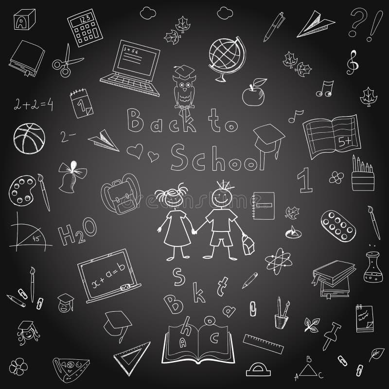 Ελεύθερα σχολικά στοιχεία σχεδίων στον πίνακα μπακαράδων απεικόνιση αποθεμάτων
