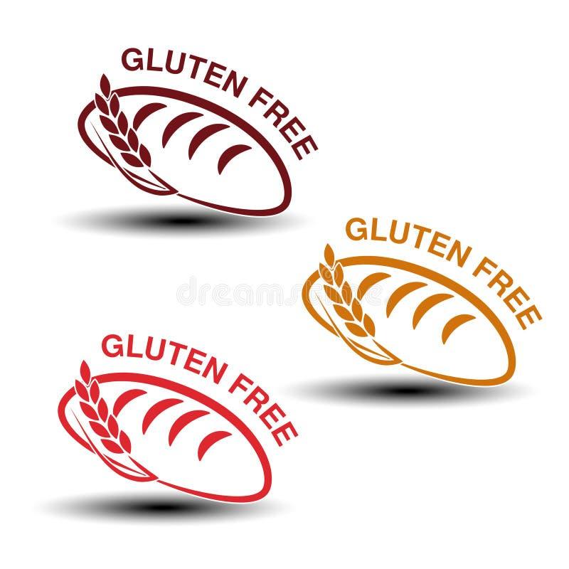 Ελεύθερα σύμβολα γλουτένης στο άσπρο υπόβαθρο Σκιαγραφίες του ψωμιού με spikelet ελεύθερη απεικόνιση δικαιώματος
