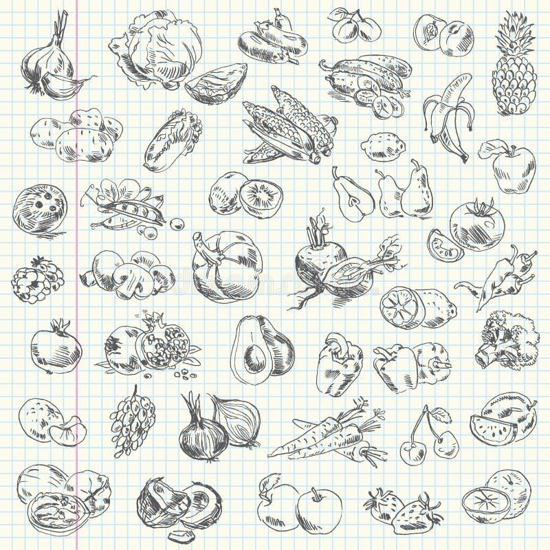 Ελεύθερα φρούτα και λαχανικά σχεδίων απεικόνιση αποθεμάτων