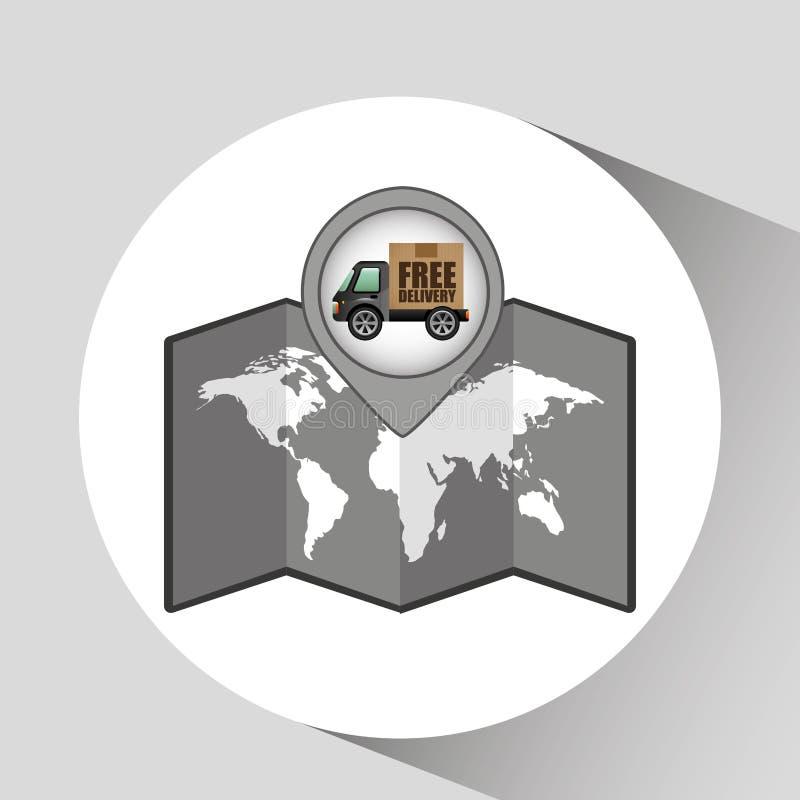 Ελεύθερο σχέδιο δεικτών χαρτών εικονιδίων παράδοσης φορτηγών διανυσματική απεικόνιση