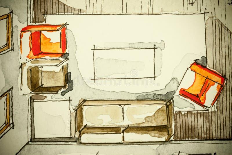 Ελεύθερο σχέδιο σκίτσων μελανιού Watercolor του μερικού σχεδίου ορόφων σπιτιών ως aquarell ζωγραφική παρουσιάζοντας καθιστικό με  απεικόνιση αποθεμάτων