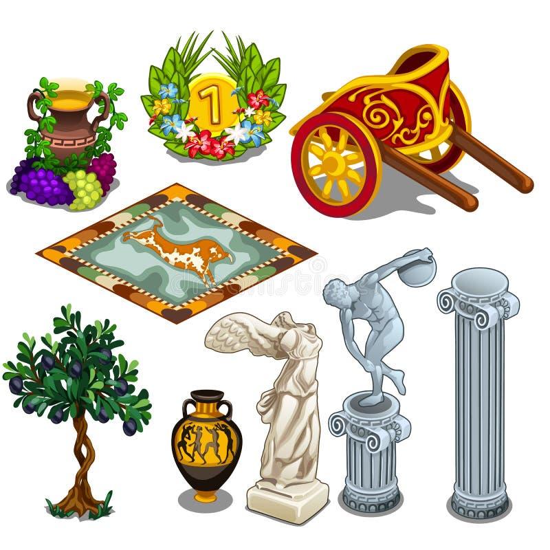 Ελληνικά αγάλματα και άλλα σύμβολα του αρχαίου πολιτισμού διανυσματική απεικόνιση