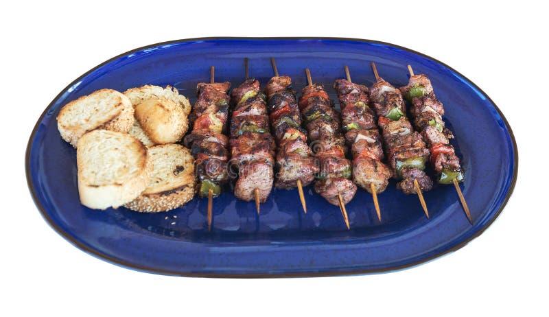 Ελληνικά kebabs σε μια πιατέλα στοκ εικόνες με δικαίωμα ελεύθερης χρήσης