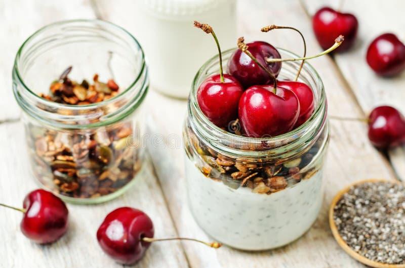 Ελληνική πουτίγκα γιαουρτιού granola σπόρων Chia με τα κεράσια στοκ εικόνα
