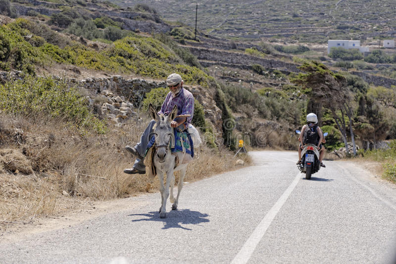 Ελληνικό άτομο στο μουλάρι στοκ φωτογραφία με δικαίωμα ελεύθερης χρήσης