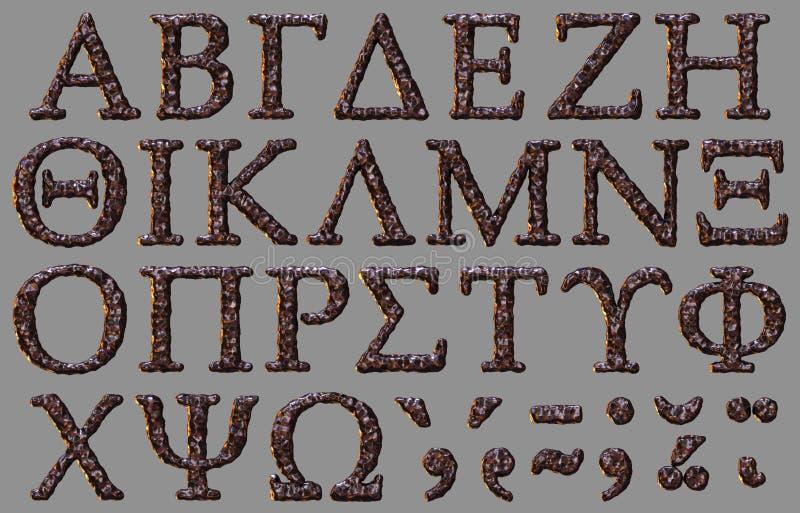 Ελληνικό σύνολο επιστολών πετρών αλφάβητου διανυσματική απεικόνιση