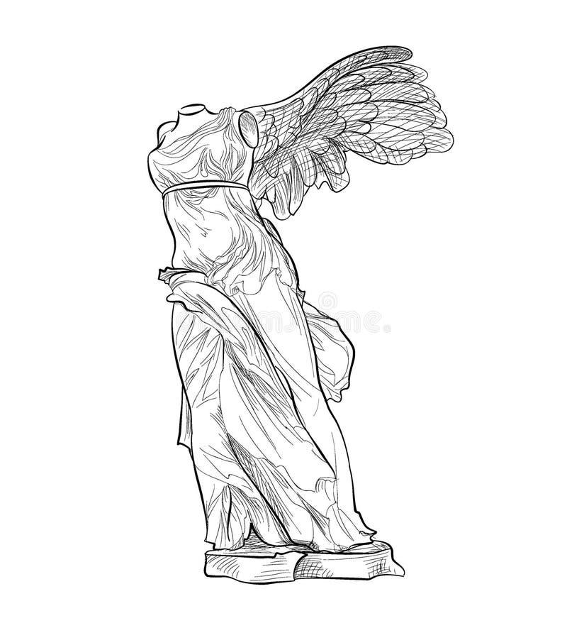 Ελληνικό φτερωτό άγαλμα ορόσημων Αρχαίο σύμβολο της Ελλάδας διανυσματική απεικόνιση