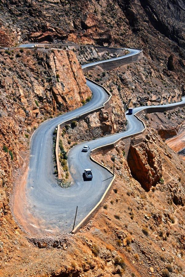 Ελικοειδές ίχνος βουνών στα φαράγγια Dades στον υψηλό άτλαντα, Μαρόκο στοκ φωτογραφία με δικαίωμα ελεύθερης χρήσης