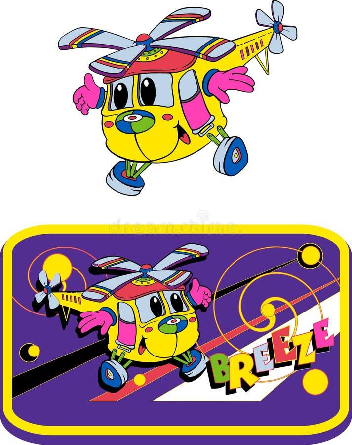 Ελικόπτερο, παιχνίδια διασκέδασης, κινούμενα σχέδια στοκ εικόνα με δικαίωμα ελεύθερης χρήσης