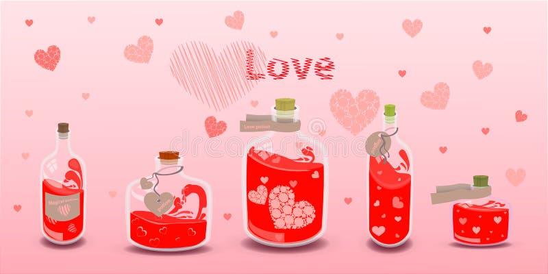 Ελιξίριο πέντε της αγάπης με τις ετικέτες απεικόνιση διανυσματική απεικόνιση