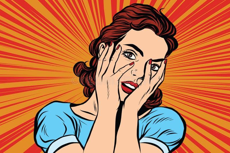 Ελκυστική γυναίκα που καλύπτει το πρόσωπό της και με τα δύο χέρια απεικόνιση αποθεμάτων