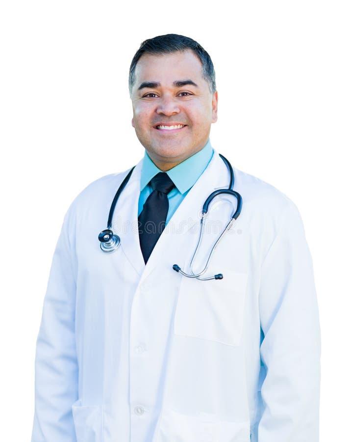 Ελκυστική ισπανική γιατρός ή νοσοκόμα αρσενικών στο λευκό στοκ φωτογραφία με δικαίωμα ελεύθερης χρήσης