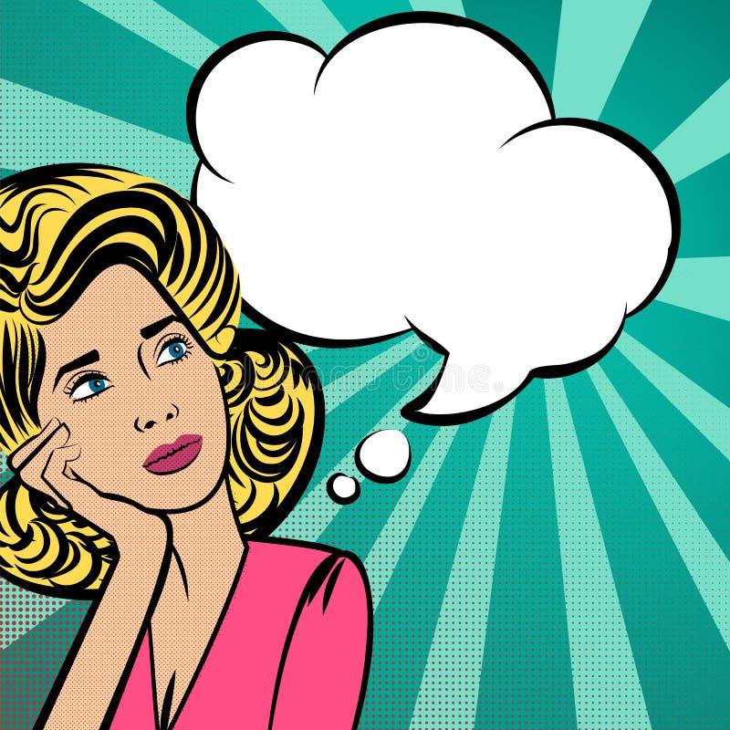 Ελκυστική ξανθή λαϊκός-τέχνη σκέψης γυναικών ελεύθερη απεικόνιση δικαιώματος