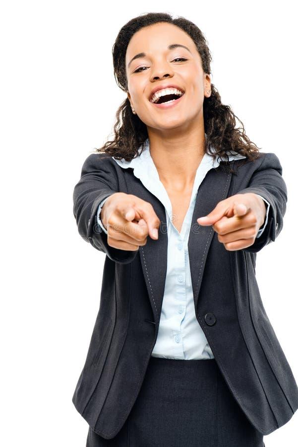 Ελκυστική υπόδειξη επιχειρηματιών αφροαμερικάνων που απομονώνεται στο W στοκ φωτογραφία με δικαίωμα ελεύθερης χρήσης